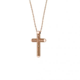 玫瑰金单钻十字架项链