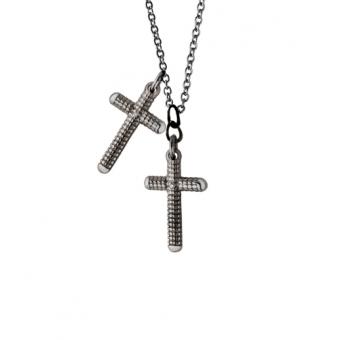 黑金单钻十字架项链
