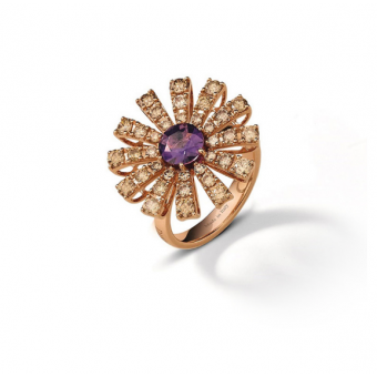 Pink gold, brown diamonds and amethist ring