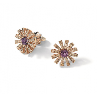 Pink gold, brown diamonds and amethist earrings