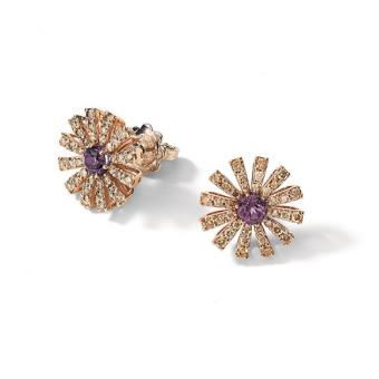 玫瑰金褐鑽紫晶耳環