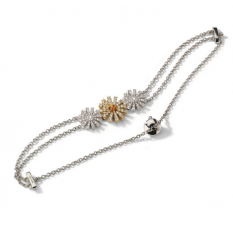White and yellow gold bracelet with citrine quartz and diamonds