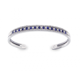 White gold, diamonds and sapphires bracelet