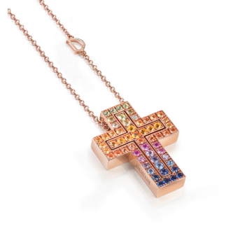 Pink gold and multicolored sapphires necklace